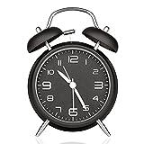 BestFire  4寸目覚し時計 アナログ表示 大音量ベル音アラーム  メタリック塗装 簡単な日本語取扱説明書付  単三電池対応(別売) (ブラック)