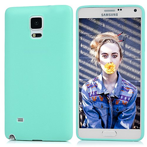Note 4 Case,Samsung Galaxy Note 4 Case - Candy Color Series Slim Fit Shock-absorption Drop Protection Soft TPU Rubber Skin Gel Anti-slip Protective Cover by Badalink - Mint Green