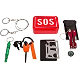 Aid & Prep Survival Kit: Ultimate and Compact - Includes Multi Functional Pocket Tool with Flashlight, Wire Saw, Fire Starter, Emergency Whistle, Knife/Utensil Tool in SOS Sturdy Tin Can