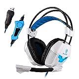 Audífonos SADES A30S Pro USB para jugar estéreo sobre el oido, con micrófono, control de volúmen con luz LED, blanco