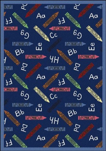 "Joy Carpets Playful Patterns Children's Crayons Area Rug, Blue, 3'10"" x 5'4"""