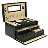 Jewelry Box Genuine Leather Black Extra Large With Travel Case by Tech Swiss