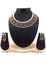 9blings American Diamond Ruby Pearl Gold Plated Choker Necklace Set Ad108a