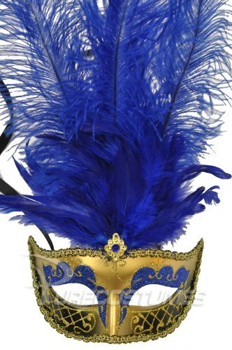 Blue Gold Feather Masquerade Mardi Gras Venetian Feather Mask