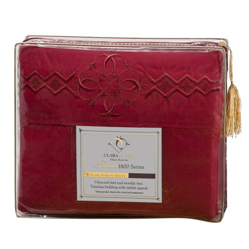 Ultimate Clara Clark Premier 1800 Bed Sheet Set - With Majestic Embroidery - Queen Size, Burgundy Red