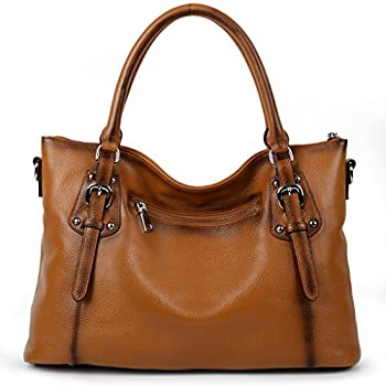 Yahoho Women's Vintage Style Soft Genuine Leather Tote Large Shoulder Bag