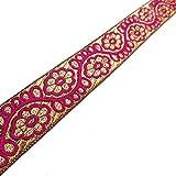 Indian Traditional Jacquard Trim Metallic Gold Floral Weaving Sari Border Crafted Ribbon Lace 4 Yrd