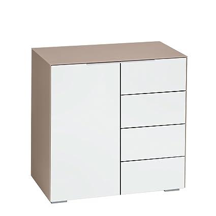 Kommode / Schubladenkommode MAJA in Glas sand matt / Weißglas matt 80x79,7x45,3cm Mehrzweckschrank