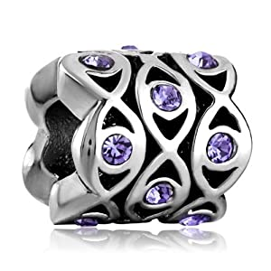 Pugster Amethyst Purple Bling Swarovski Elements Crystal Flowers Charm Beads Fit Pandora Chamilia Biagi Charm Jewelry