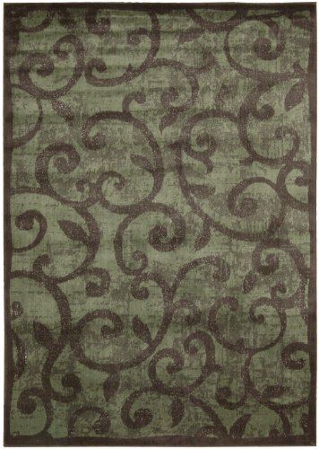 Nourison Interpretations Brown Geometric 2-Feet by 5.9-Feet Polyacrylic Runner Rug