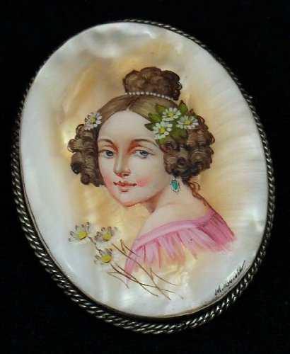 Russian Brooch Hand Painted over Mother of Pearl PORTRAIT of YOUNG GIRL #0867