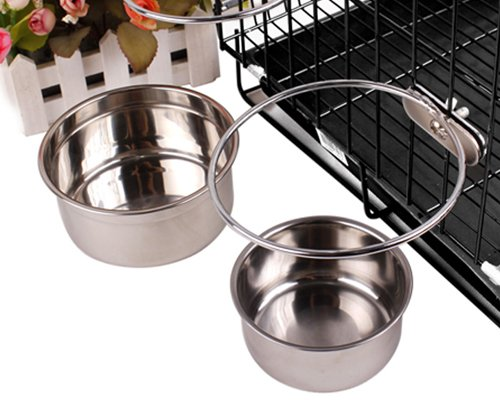 Cage Series Stainless Steel Coop Cup Dog Food Bowl - Silver (Medium) front-149226