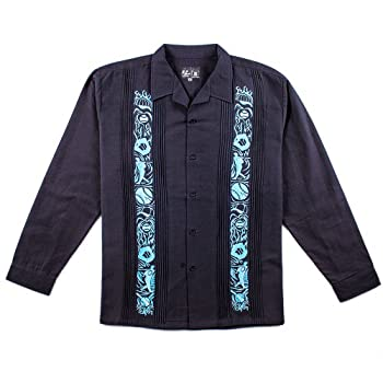 Y.A.Bera Men's Long Sleeve Collared Shirt w/ World Series Artwork - Black