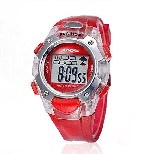 Kano Bak Fashion Child Kids Boy Girl Student Digital Crystal Alarm Sports Waterproof Waterproof Gift Watch Red 99319
