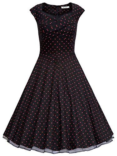 MUXXN® Women 1950s Vintage Retro Capshoulder Party Swing Dress (XL, Black Dot)