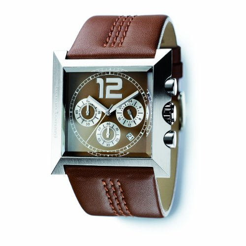 Bruno Banani Men's Watch X75.052.305 with Square Brown Chronograph Dial and Brown Leather Strap