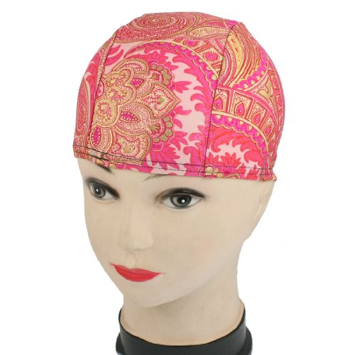 Children Gold Tone Flower Pattern Fiber Elastic Swimming Swim Cap Hat
