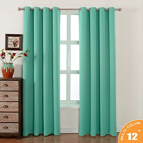 AMAZLINEN Sleep Well Blackout Curtains Toxic Free Energy Smart Thermal Insulated,52 W X 84 L Inch,Grommet Top,Set Of 2 Panels With Bonus Tie Back,13 Stylish Colors (Light Teal)