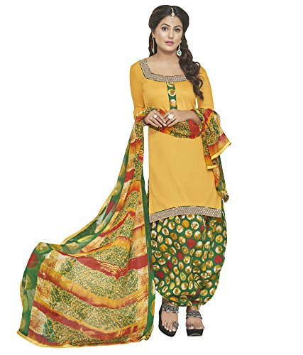 Kvsfab Yellow Glace Cotton Printed Work Patiala Suits