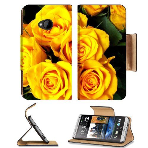 Roses Flower Yellow Bright Beautiful Bouquet Htc One M7 Flip Cover Case With Card Holder Customized Made To Order Support Ready Premium Deluxe Pu Leather 5 11/16 Inch (145Mm) X 2 15/16 Inch (75Mm) X 9/16 Inch (14Mm) Liil Htc One Professional Cases Accesso front-600820