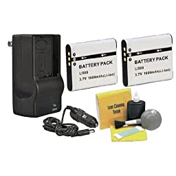 Olympus High Capacity Lithium Ion Replacement for Olympus Li-50B - 2 Batteries (1000Mah) + AC/DC Rapid Travel Charger + Nwv Direct 5 Piece Cleaning Kit