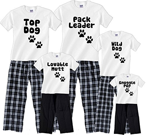 Personalized Dog Pack Family Tee and Pants Clothing Set; Choose Adult or Kids