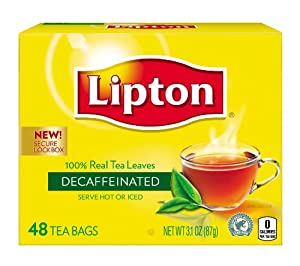 Lipton Tea, Decaffeinated, Tea Bags, 48Count Boxes (Pack of 12) Package May Vary