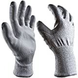 PU Coated Cut Resistant Gloves - EN388 Level 5 Protection, Non-slip, Machine Launderable, Ideal for Construction, Woodworking, Glass, Steel, Sheet Metal and Machinery Industry. Etc. (Large, Silver-gray)