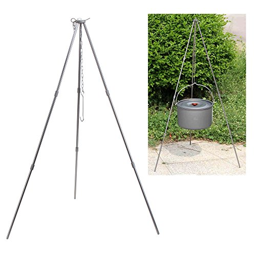 SUNREEK™New Camping Tripod Outdoor Picnic Cooking Tripod Portable Hanging Pot Campfire Grill Stand with Storage Bag (Campfire Cooking Stand compare prices)