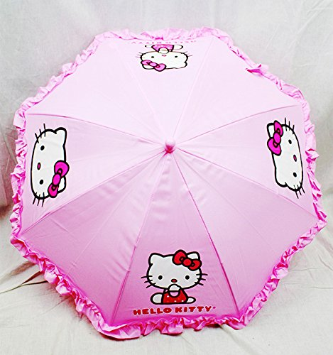 "Sanrio Girls' Umbrella With 3D Hello Kitty Figurine Handle Applique 20"" Pink - 1"