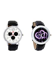 Gledati Men's White Dial And Foster's Women's Black Dial Analog Watch Combo_ADCOMB0001853