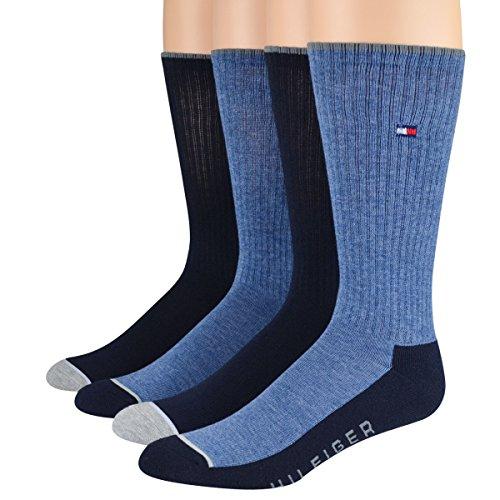 Tommy Hilfiger Men'S Socks Cushion Crew Oxford/Navy/Denim 4Pairs
