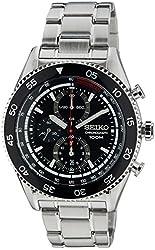 Seiko Quartz Black Dial Stainless Steel Chronograph Men's Watch SNDG57