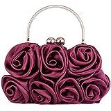Scarleton Satin Evening Bag with Rosettes H321010 - Red