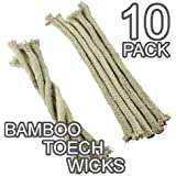 Replacement Cotton Wicks - For Bamboo Torches, Lamps, Lanterns (Pack of 10)