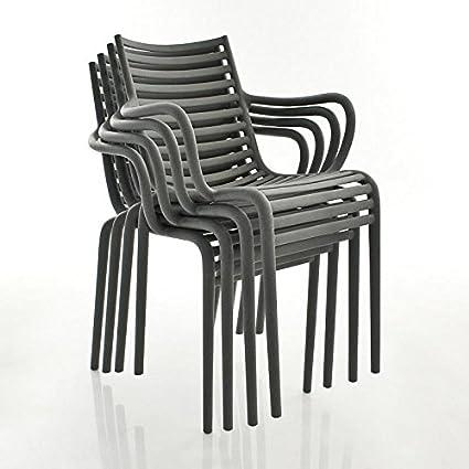 Pip de S silla con reposabrazos (Juego de 4, polipropileno, gris, estándar