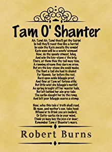 A4 Size Parchment Poster Classic Poem Robert Burns Tam O