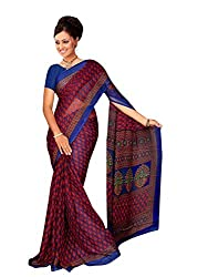 LOVELY LOOK Blue & Red Printed Saree