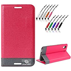 DMG HTC Desire 626 626G+ Flip Cover, DMG PRaiders Premium Magnetic Wallet Stand Cover Case for HTC Desire 626 626G+ (Pink) + Mini Touch Screen Stylus