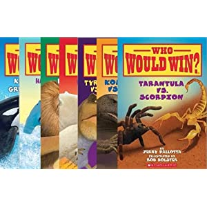 Who Would Win? Series Set of 7 Books by Jerry Pallotta and Rob Bolster (Who Would Win? Tarantula Vs Scorpion; Who Would Win? Komodo Dragon Vs. King Cobra; Who Would Win? Lion Vs Tiger; Who Would Win? Killer Whale Vs Great White Shark; Who Would Win? Hammerhead Vs Bull Shark; Who Would Win? Polar Bear Vs Grizzly Bear; Who Would Win? Tyrannosaurus Rex Vs Velociraptor)