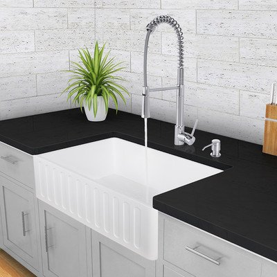 Lowest Price! VIGO 33 inch Farmhouse Apron Single Bowl Matte Stone Kitchen Sink