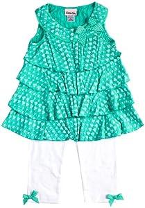 Little Lass Girls 2-6X 2 Piece Eyelet Printed Knit Gauze Capri Set Ruffles by Little Lass