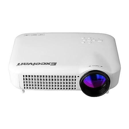 Excelvan Vidéoprojecteur HD LED 3000 Lumens Résolution 1280*800 Home Cinéma AV/VGA/HDMI/ATV/USB Entrée EU Blanc