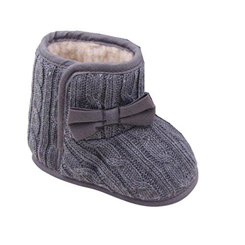 Kingko® Scarpe neonato bambino di Bowknot morbida suola di scarpa invernale mantengono i pattini caldi stivali (6-9 mesi, Grigio)