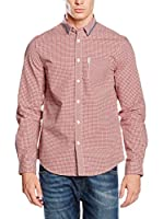 Ben Sherman Camisa Hombre Ls Tipped Collar Gingham (Rojo / Blanco)