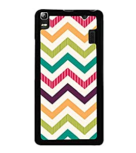 Zig Zag Colourful Pattern 2D Hard Polycarbonate Designer Back Case Cover for Lenovo K3 Note :: Lenovo A7000 Turbo