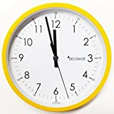 Decowall, DSH-M22Y, Metal Wall Clock, Non ticking Silent Sweeping Seconds (Yellow, 22cm)