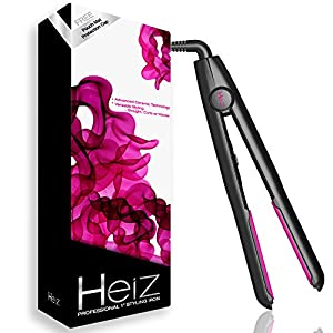 [+2 Free Gifts] Heiz-Professional Ceramic Flat Iron Hair Straightening Iron Versatile Function Hair Straightener with Free Heat Resistant Pouch/Heat Mat and Guard Cap for Beauty Enthusiasts, 1-Inch