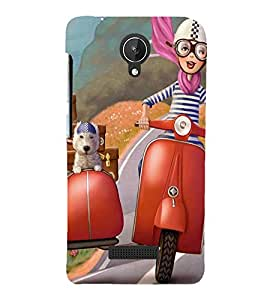 ANIMATED BOY AND A PET TRAVELLING ON A VACATION 3D Hard Polycarbonate Designer Back Case Cover for Micromax Canvas Spark Q380