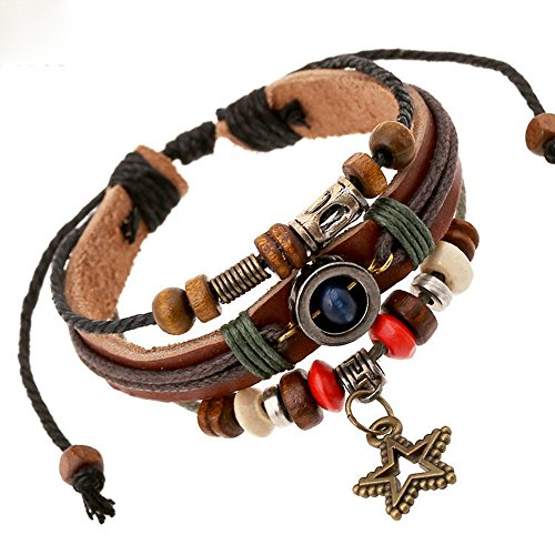 Nice Buckeye Hollowde Vintage Star Pendant Wood Bead Plates Decorated Leather Adjustable Length Wrap Bracelet